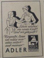 Werbung von Adler Nähmaschinen Bielefeld