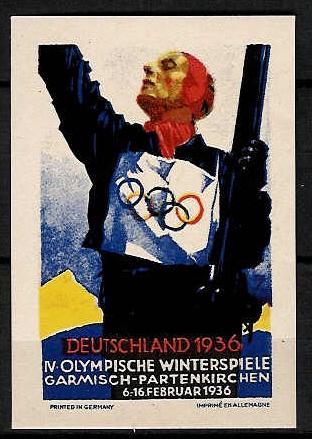 Winterspiele, eine der Werbekarten von Ludwig Hohlwein