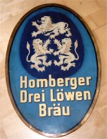 Bier Reklame Homberger Drei Löwen Bräu