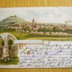 Ortsrand mit Burg und Kirche