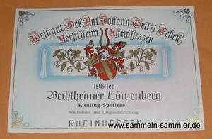 Weinetikett von 1961 Bechtheimer Löwenberg