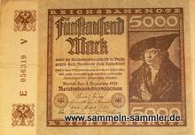 Alte Banknoten: Fünftausend Mark