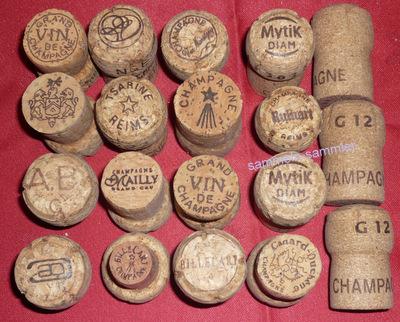 Champagnerkorken von verschiedenem Champagner