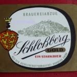 Gesellschaftsbrauerei Homberg Bieretikett Schloßberg Gold