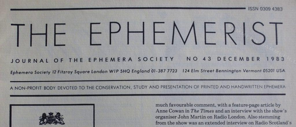 Zeitschrift Der Ephemerist