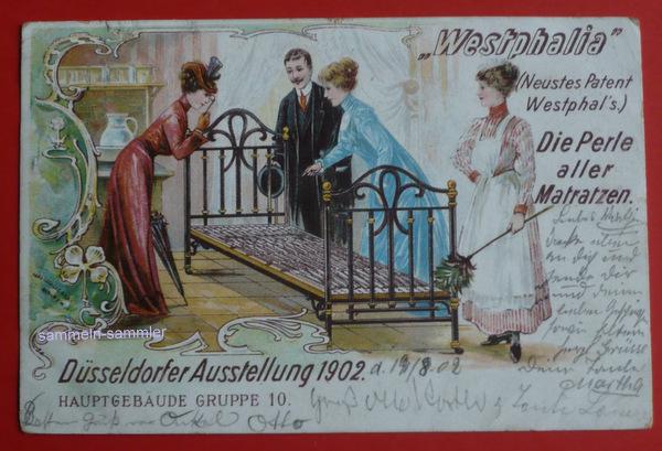 Postkarte mit Reklame für Westfalia Betten, um 1900, Sammlerwert ca. 30 Euro