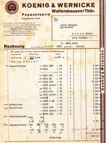 Rechnung von König & Wernicke