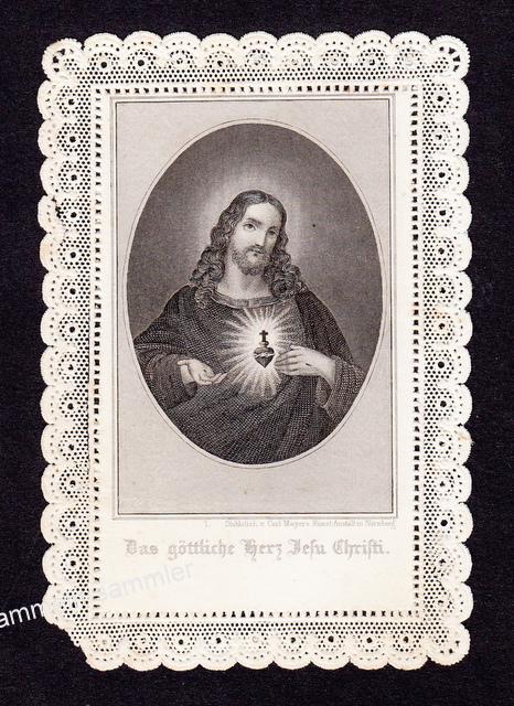 Spitzenbild in schwarz/weiß aus dem 19. Jahrhundert
