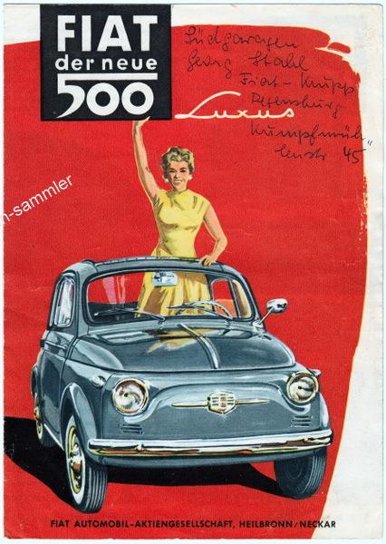 Fiat 500 Autoprospekt von 1956