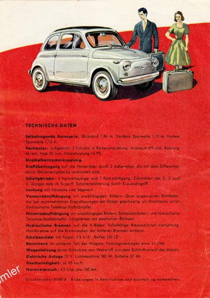 Fiat 500 Technische Daten