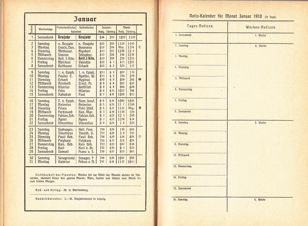 Almanach Kalender 1909 Gartenlaube Beispielseite