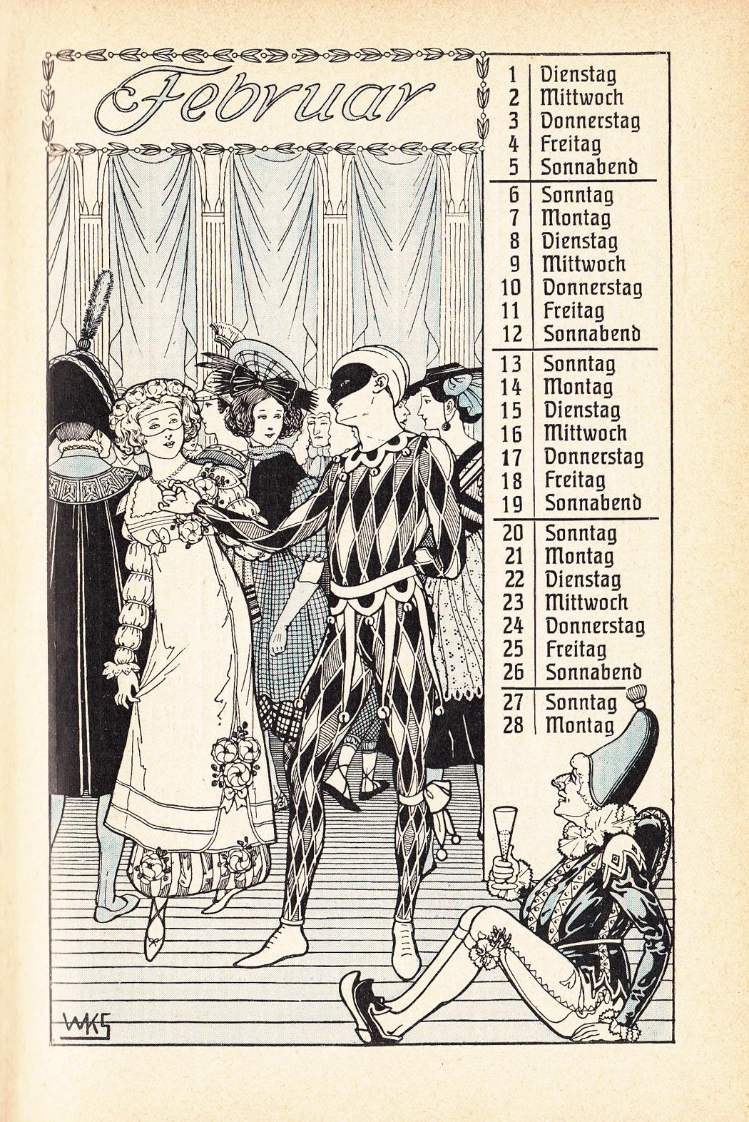 Almanach Kalender 1909 Gartenlaube Februar