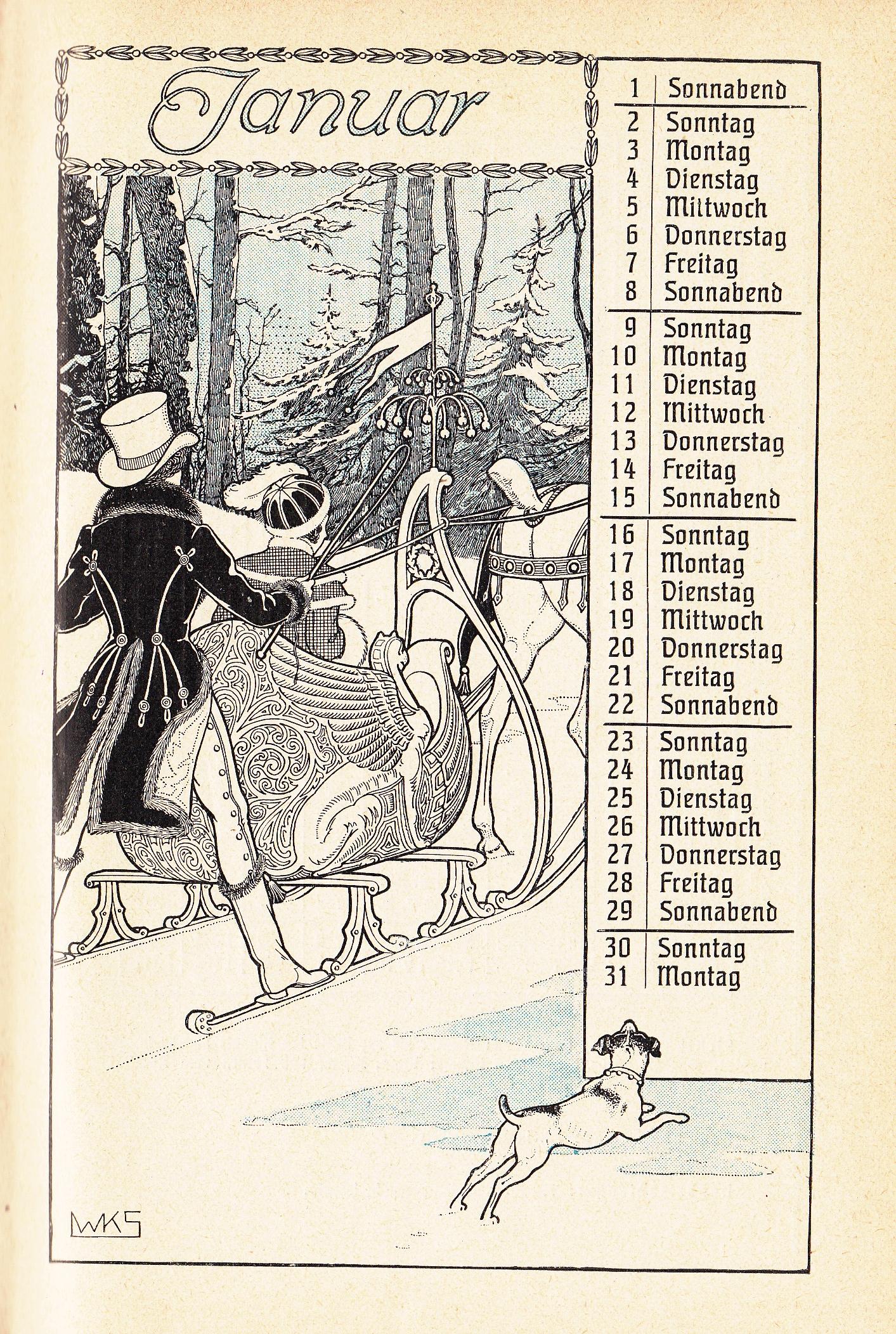Almanach Kalender 1909 Gartenlaube Januar