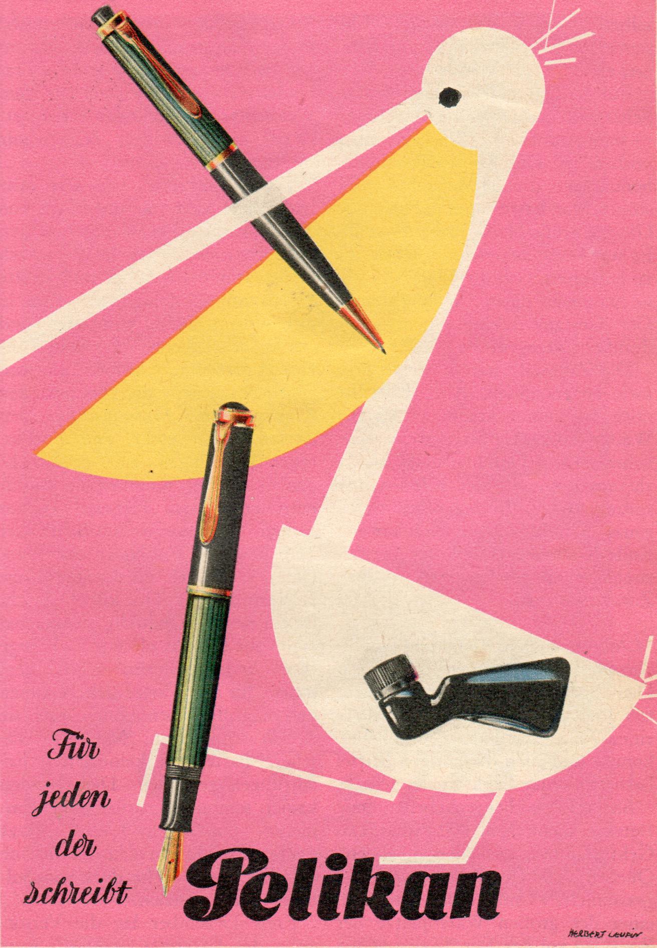 Pelikan Reklame von 1952